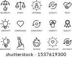 Core Values Set Icon  Vector...