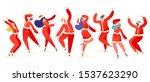 set of young happy dancing... | Shutterstock .eps vector #1537623290