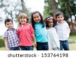 happy group of kids smiling at... | Shutterstock . vector #153764198