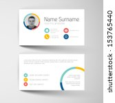 Modern simple light business card template with flat user interface | Shutterstock vector #153765440