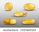 Golden oil capsule set - realistic shiny medicine pills with gold yellow fish oil or omega 3 vitamin isolated on transparent background - vector illustration.