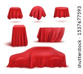red silk fabric curtain cover... | Shutterstock .eps vector #1537677593