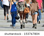 young people walking up the... | Shutterstock . vector #153767804