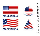 made in usa flags set emblems | Shutterstock .eps vector #1537729313