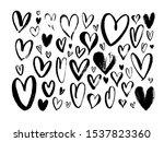 abstract hearts hand drawn...