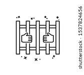prison hands icon. simple line  ...