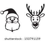 Contour Image Face Of Santa...