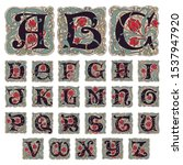 Antique gothic alphabet letters in vintage colors. Typeface, vector premium design template elements for identity, package, book, diploma, etc.