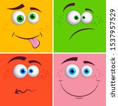 happy cartoon funny face with... | Shutterstock .eps vector #1537957529