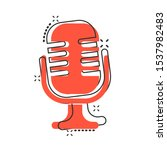 microphone icon in comic style. ...