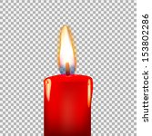 burning candle on a transparent ... | Shutterstock .eps vector #153802286