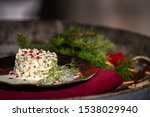 Stock photo herring tartar with mayonaise red pepper and dill 1538029940