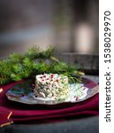 Stock photo herring tartar with mayonaise red pepper and dill 1538029970