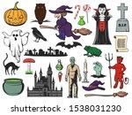 halloween pumpkin  ghost and...   Shutterstock .eps vector #1538031230