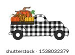 buffalo plaid truck with... | Shutterstock .eps vector #1538032379