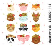 animal faces with christmas... | Shutterstock .eps vector #1538034443