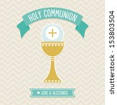 First Holy Communion Card template in cream, aqua and gold with vintage chevron background pattern. See my folio for other colors and for JPEG version. - stock vector
