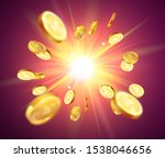 realistic gold coins explosion...   Shutterstock .eps vector #1538046656