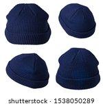 set of knitted blue hats...   Shutterstock . vector #1538050289