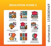 education concept icons set in...