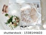 Luxury Wedding Dress In White...