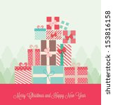 gift presents with ribbon. ... | Shutterstock .eps vector #153816158