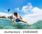 young man kiteboarding  fun in... | Shutterstock . vector #153818600