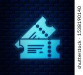glowing neon cinema ticket icon ... | Shutterstock .eps vector #1538190140