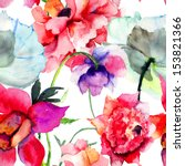 Stock photo seamless pattern with beautiful peony flowers watercolor painting 153821366