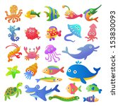 sea fishes and animals... | Shutterstock .eps vector #153830093