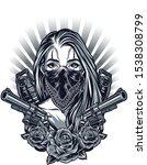 gangster girl fashion vector art | Shutterstock .eps vector #1538308799