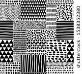 black and white seamless doodle ... | Shutterstock .eps vector #1538352380