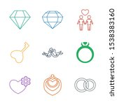 9 marriage icons. trendy... | Shutterstock .eps vector #1538383160