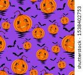 seamless halloween pattern with ... | Shutterstock . vector #1538402753