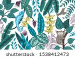 vector background with tropical ... | Shutterstock .eps vector #1538412473