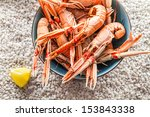 Seafood served on the beach - stock photo