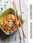 Chinese mix vegetables with rice and shrimp - stock photo