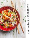 Chinese mix vegetables and rice - stock photo