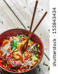 Chinese vegetables with pasta and shrimp - stock photo