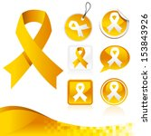 set of yellow awareness ribbons | Shutterstock .eps vector #153843926