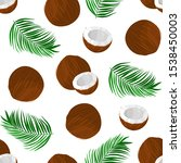 seamless pattern with coconut... | Shutterstock .eps vector #1538450003