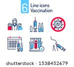vaccination color line icons...