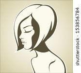 graphic girl with bob haircut | Shutterstock .eps vector #153856784
