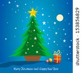 beautiful christmas tree with... | Shutterstock .eps vector #153856829
