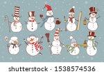 Set Of Doodle Sketch Snowmen On ...