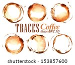 set traces cup drawn pour... | Shutterstock .eps vector #153857600