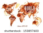 World Map Of Drawn Pour Coffee...