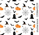 seamless pattern with halloween.... | Shutterstock . vector #1538645159