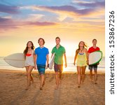 surfers teen boys and girls... | Shutterstock . vector #153867236