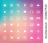 set of icons on colorful... | Shutterstock . vector #153867920